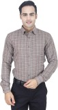 Euromens Men's Checkered Formal Brown Sh...