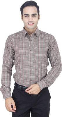 Euromens Men's Checkered Formal Brown Shirt