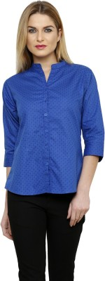 Ritzzy Women's Solid Casual Blue Shirt