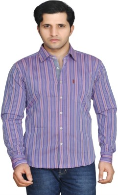 Ubho Men's Striped Casual Purple Shirt