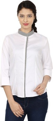 Smile By Nature Women's Solid Party White, Grey Shirt