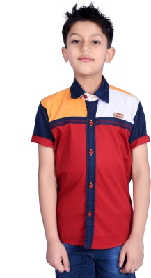Hive Boy's Printed Casual Red Shirt