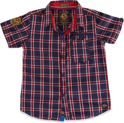 Jim & Jam Boy's Checkered Casual Blue Shirt