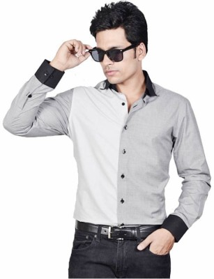 Shiksha Men's Solid Casual Grey Shirt