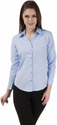 Apoyo Women's Solid Formal Light Blue Shirt