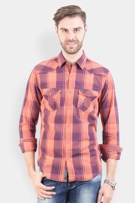 Crocodile Men's Checkered Casual Orange Shirt