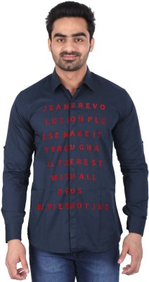 Pierrot Men's Solid Casual Linen Blue, Red Shirt
