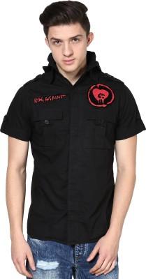 Punk Men's Printed Casual Black Shirt