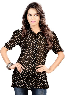SFDS Women's Printed Party Black Shirt