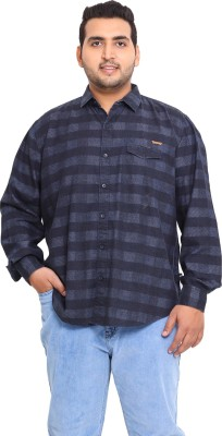 John Pride Men's Checkered Casual Black Shirt