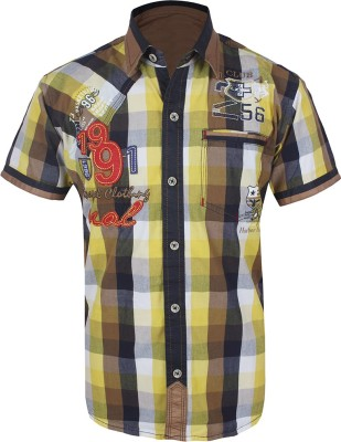 Jazzup Boy's Checkered Casual Yellow, Brown Shirt