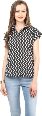 Stilestreet Women's Printed Casual Black, White Shirt