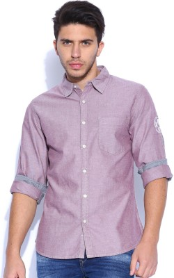 Kook N Keech Men's Solid Casual Pink Shirt