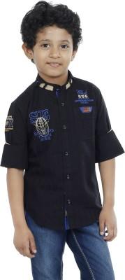 OKS Boys Boy's Striped Casual Linen Black Shirt