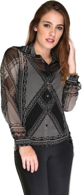 Hermosear Women's Printed Casual Black Shirt