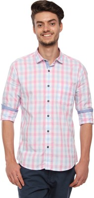 British Club Men's Checkered Casual Pink Shirt