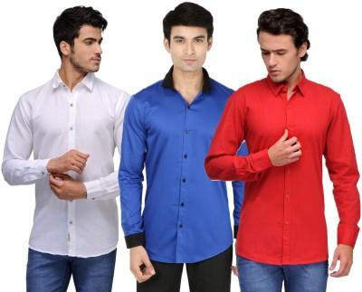 Feed Up Men's Solid Casual White, Blue, Red Shirt