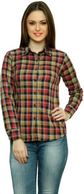 99 Hunts Women's Checkered Casual Red, Brown Shirt