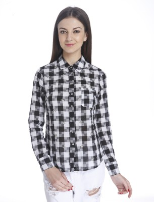 Only Womens Checkered, Embellished Casual Black Shirt