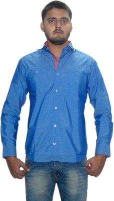 The GreeK Men's Solid Casual Blue Shirt