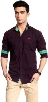 Cotton Crus Men,s Solid Casual Maroon Shirt