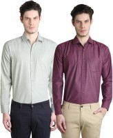 Ave Formal Shirts (Men's) - Ave Men's Solid Formal Maroon, Light Green Shirt(Pack of 2)