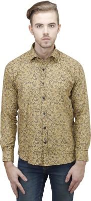Unixx Men's Printed Casual Yellow Shirt