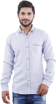 Crocks Club Men's Solid Casual Blue Shirt