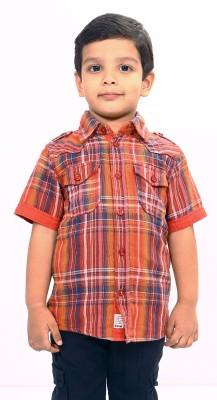 Bio Kid Boy's Checkered Casual Orange Shirt