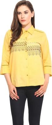 Instacrush Women's Printed Casual Yellow Shirt
