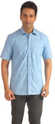 Sterling Men's Self Design Formal Light Blue Shirt