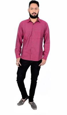 Maandna Men's Solid Casual Maroon Shirt
