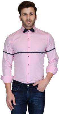 Edjoe Men's Solid Casual Pink Shirt