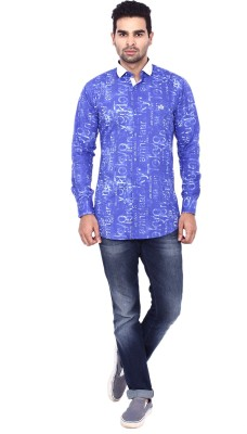 Coloroid Men's Printed Casual Blue, Light Blue, White Shirt