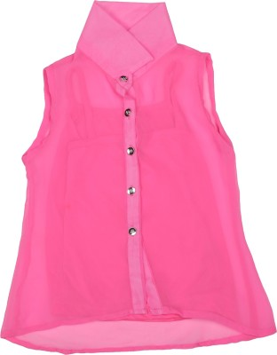 Addyvero Girl's Solid Casual Pink Shirt