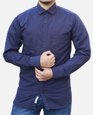 Yzade Men's Solid Formal, Casual, Party, Wedding Dark Blue Shirt