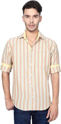 Peter England Men's Striped Casual White Shirt