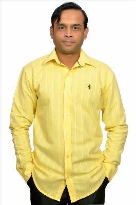 Adam In Style Men's Striped Casual Yellow Shirt