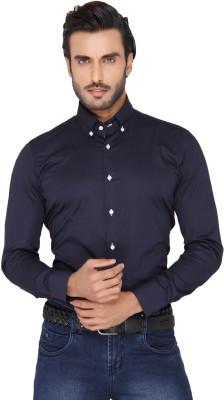Mode De Base Italie Men's Solid Casual Dark Blue Shirt