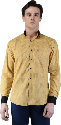 Magnoguy Men's Polka Print Casual Beige Shirt