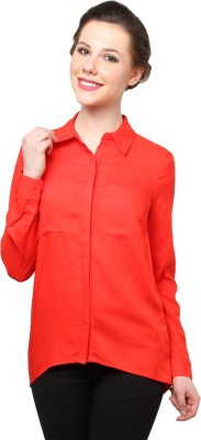 Moderno Women's Solid Party Red Shirt