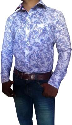 Blue Monkey Men's Paisley Casual White, Blue Shirt