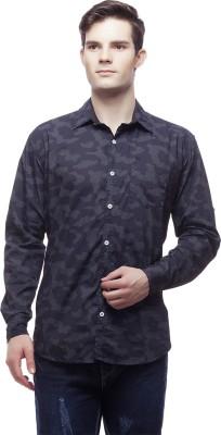 Akara Men's Printed Casual Blue Shirt