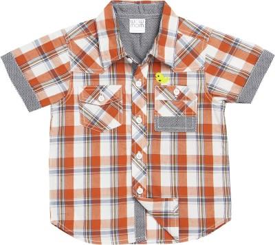 Wow Mom Baby Boy's Checkered Casual Orange Shirt