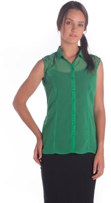 Miss Rich Women's Solid Casual Green Shirt