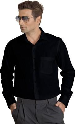 Willmohr Men's Striped Formal Black Shirt