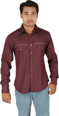 TomBerry Men's Striped Casual Maroon Shirt