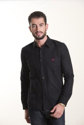 Kart & Kriss Men's Solid Casual Black Shirt