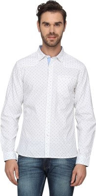 T-Base Men's Printed Casual White Shirt