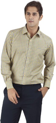 Silkina Men's Checkered Formal Blue, Yellow Shirt